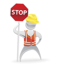 stop sign metallic man concept vector image vector image
