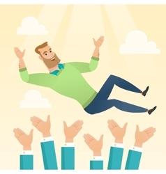 Successful businessman during celebration vector