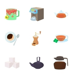 Tea icons set cartoon style vector