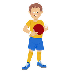 Teenager boy with table tennis racket and ball vector