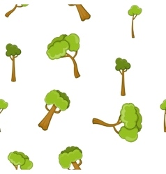 Types of trees pattern cartoon style vector