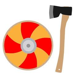 Viking shield and axe vector image vector image