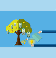 Watering money tree with coins and insert idea vector