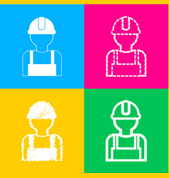 Worker sign four styles of icon on four color vector