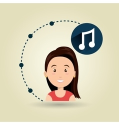 Girl connection app icon vector
