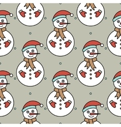 seamless pattern with snowmans vector image