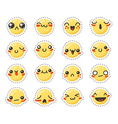 Set of cute lovely kawaii emoticon sticker vector