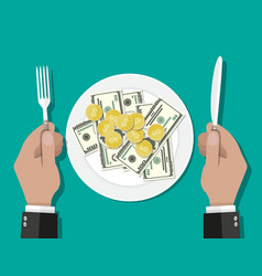 Business lunch concept vector