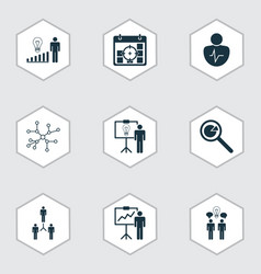 Set of 9 authority icons includes project vector