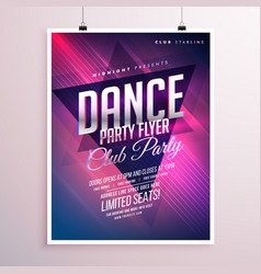 dance club party flyer template vector image
