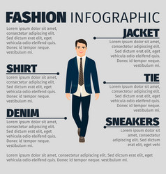 Fashion infographic with happy teacher man vector