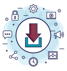 download social media communication information vector image