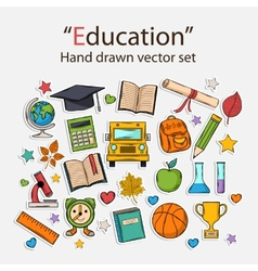 Education hand drawn set vector