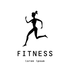 Fitness girl label - vector