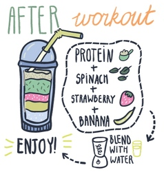 After workout hand drawn smoothie recipe vector