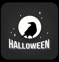 Retro vintage halloween badge black and white vector