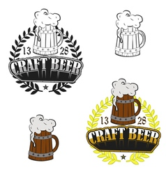 Vintage craft beer brewery emblems vector