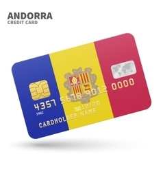 Credit card with andorra flag background for bank vector