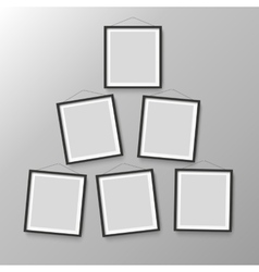 Six wooden black photo picture frames vector