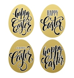 Happy easter calligraphic lettering egg golden vector