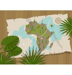 Map jungle africa cartoon treasure hunter vector