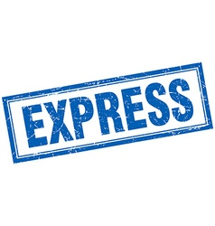 Express blue square grunge stamp on white vector