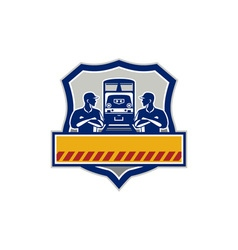 Train engineers arms crossed diesel train crest vector