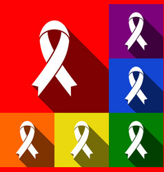 Black awareness ribbon sign set of icons vector