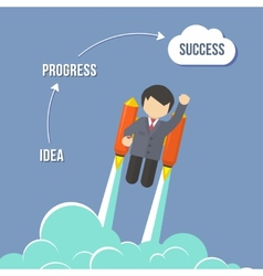 Businessman Flying On the Rocket To Success vector image vector image