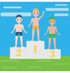 Children swimming sport team on pedestal boys vector