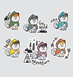 Collection of stickers with funny husky puppies in vector