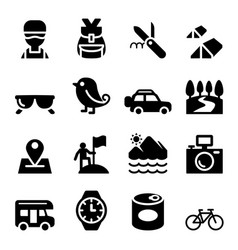 discovery traveling camping adventure icons vector image vector image