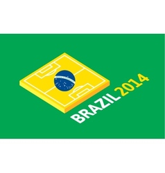 Flat green soccer field brazil flag vector