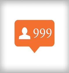 Followers orange icon 999 followers vector image