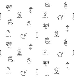 gardening line icons seamless pattern vector image vector image