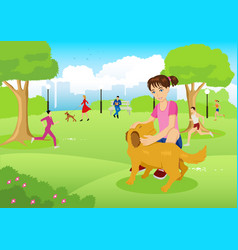 girl with her dog in the city park vector image vector image