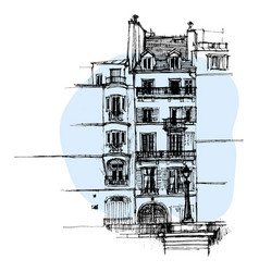 hand drawn paris house townhouse urban sketch vector image
