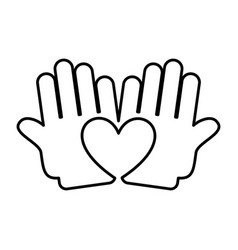 Hand human with heart silhouette isolated icon vector
