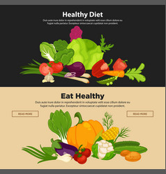healthy diet vegetables organic food banners fresh vector image