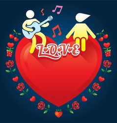 Human symbol lover with music and guitar vector image vector image