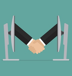 Partnership handshake from two computer vector image vector image
