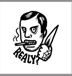Really angry gangster threatening with a knife vector