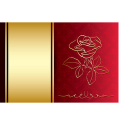 Red and gold background with rose - card vector