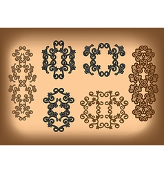 Set - floral symmetrical ornaments vector