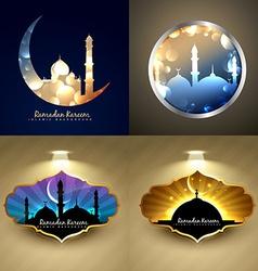 set of attractive background of ramadan kareem vector image