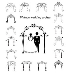Set vintage chuppah archjewish jewish wedding vector