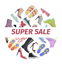 supper summer shoes sale flat concept vector image vector image