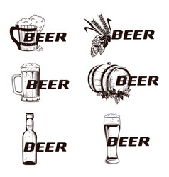 Vintage elements of the beer menu set vector