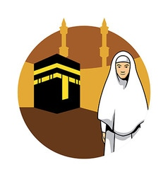 Women Hajj And Kaaba Background vector image vector image