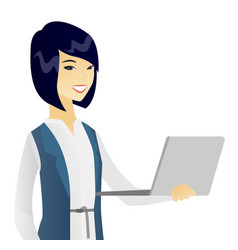 Young asian business woman using a laptop vector